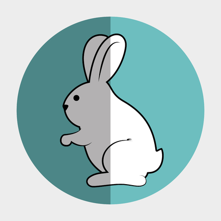 lapin silhouette: mignon animal forme de lapin. bande dessin�e de lapin sur un cercle color�. illustration vectorielle