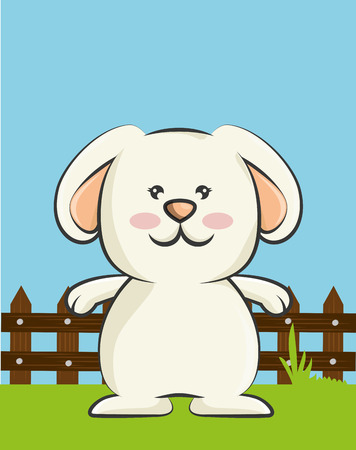 rabbit standing: cute rabbit animal. bunny cartoon. colorful design. vector illustration