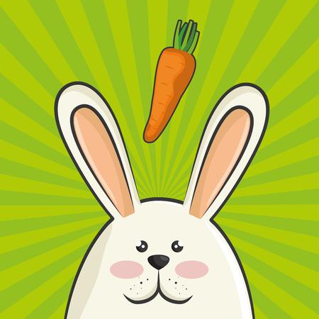rabbit standing: cute rabbit animal with orange carrots vegetable. colorful design. vector illustration
