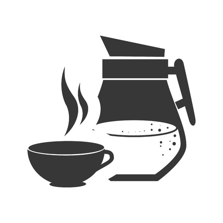 coffee cup hot drink with juice jar  icon silhouette. vector illustration Illustration
