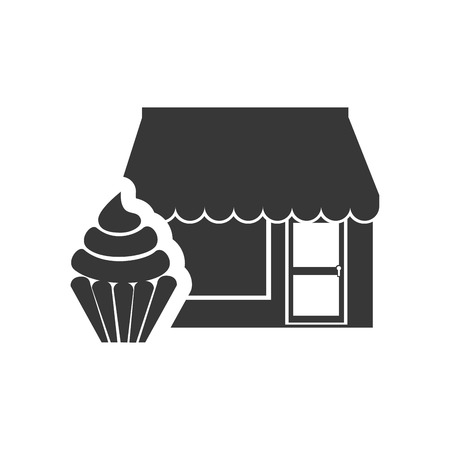 frontdoor: store bakery commerce building with sweet cupcake dessert icon silhouette. vector illustration Illustration