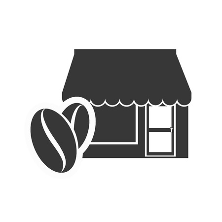 frontdoor: store bakery commerce building with coffee beans icon silhouette. vector illustration