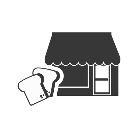 frontdoor: store bakery commerce building with loaf slices icon silhouette. vector illustration Illustration