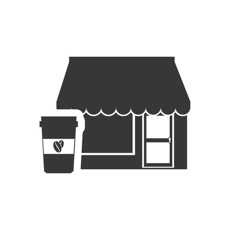 frontdoor: store bakery commerce building with coffee cup icon silhouette. vector illustration
