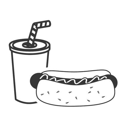 wiener: hot dog fast food and soda drink icon silhouette. vector illustration Illustration