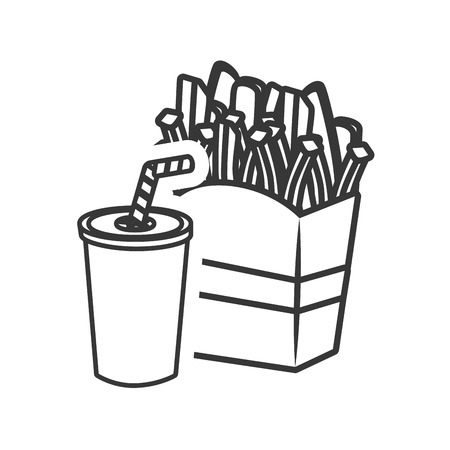 soda plastic cup with straw and french fries icon silhouette. vector illustration