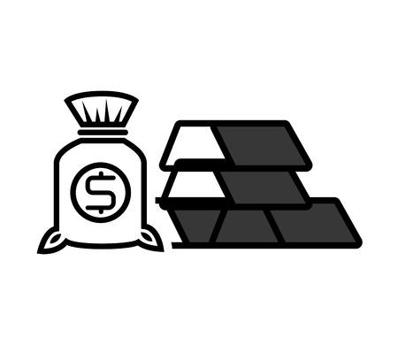 money sack: gold bars block with money sack icon silhouette. vector illustration Illustration