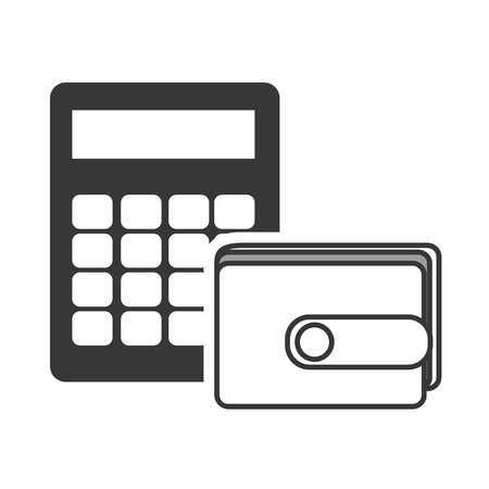personal accessory: wallet personal accessory with calculator device icon silhouette. vector illustration Illustration