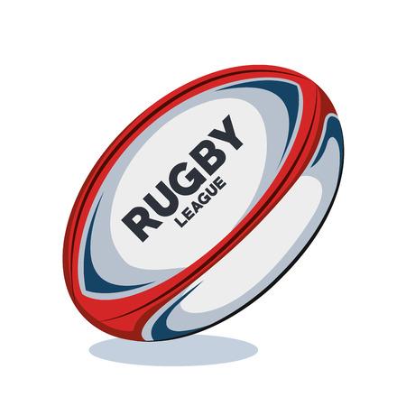 Rode, witte en blauwe het ontwerp vectorillustratie eps 10 van het rugbybal Stock Illustratie