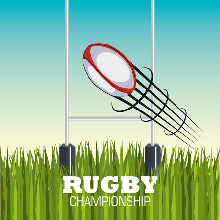 goal post': rugby ball goal post and field graphic vector illustration eps 10