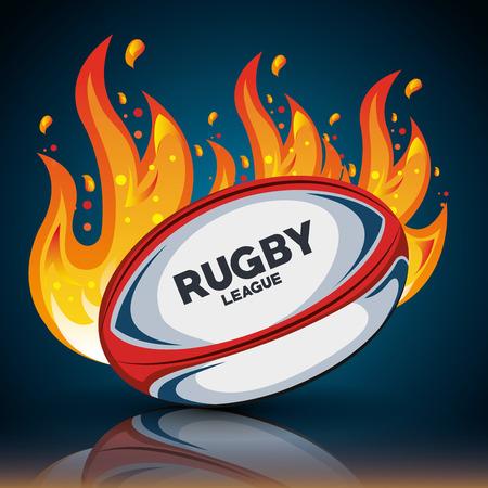 pelota de rugby con las llamas y sombra de diseño ilustración eps 10