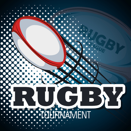 rugby ball flying with backgorund blue design vector illustration eps 10