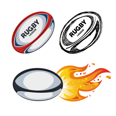 collection ball rugby white background design vector illustration eps 10 Vetores