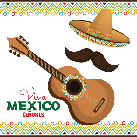 pinata: guitar and hat with moustache viva mexico vector illustration eps 10