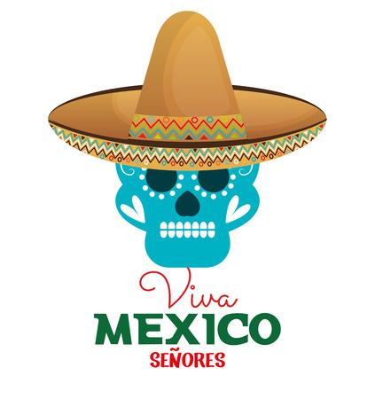 enchiladas: skull hat viva mexico design vector illustration eps 10