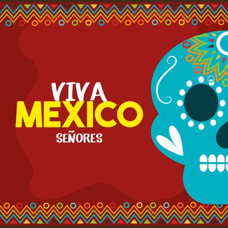 skull viva mexico with red background vector illustration eps 10 Illustration