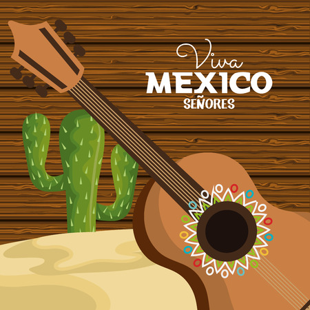 viva mexico guitar and cactus viva mexico graphic vector illustration eps 10