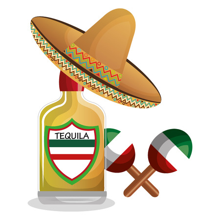maraca: bottle tequila maraca and hat mexican design vector illustration eps 10