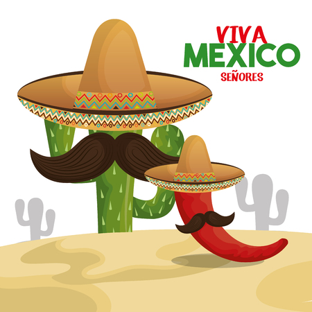 cactus chili hat viva mexico design vector illustration eps 10