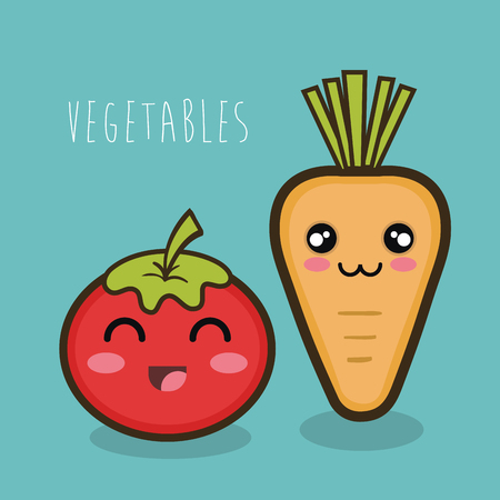 cartoon tomato and carrot vegetables design isolated vector illustration eps 10