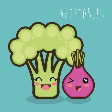onion isolated: cartoon broccoli and onion isolated vector illustration eps 10 Illustration