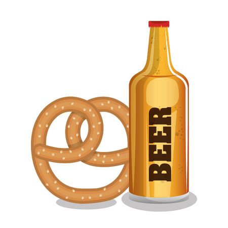 beer and pretzels food tradicional oktoberfest design vector illustration eps 10
