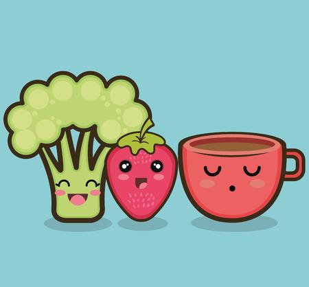 ejemplo gráfico del vector brócoli fresa de la historieta eps 10