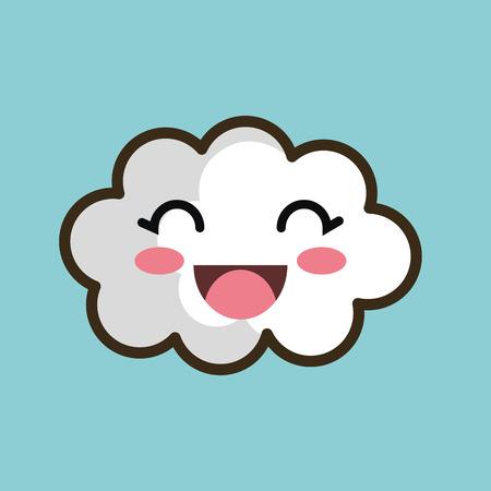 white clouds: kawaii cloud smiling eyes design vector illustration eps 10 Illustration