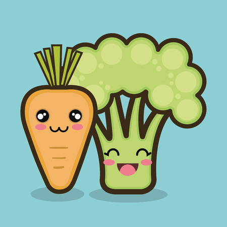 vegetables cartoon carrot and broccoli graphic isolated vector illustration eps 10