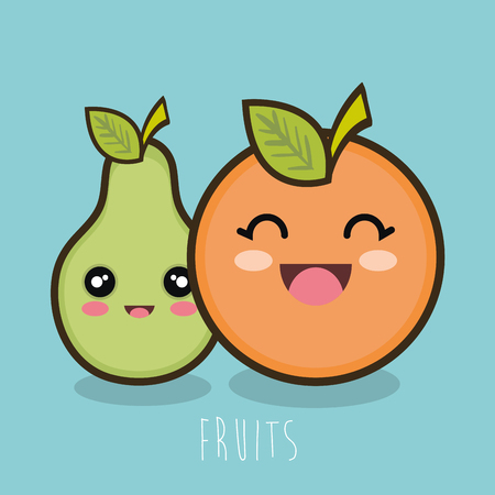 cartoon fruit pear and orange design vector illustration eps 10 Illustration