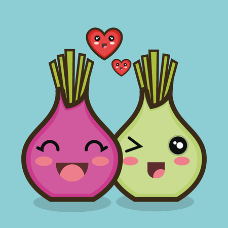 character onion red and green love design vector illustration eps 10