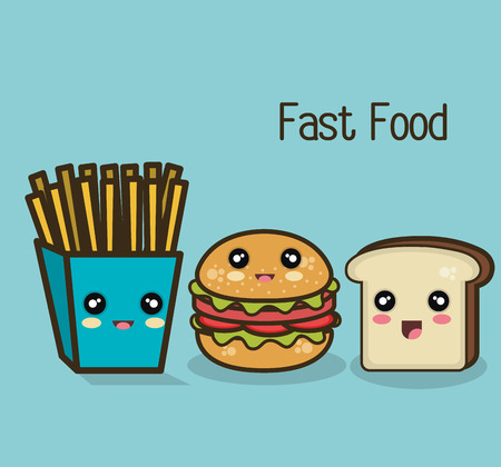 burger and fries: kawaii fast food burger fries and bread design graphic vector illustration eps 10