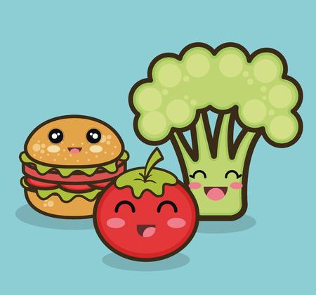 esp: cartoon food fruit vegetable and fast graphic vector illustration esp 10