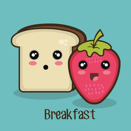 banana bread: food bread strawberry graphic vector illustration eps 10