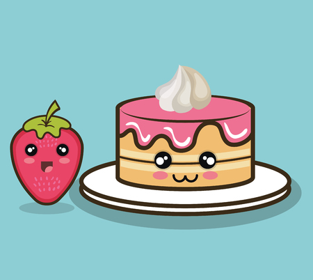 cake character cream and strawberry design isolated vector illustration eps 10