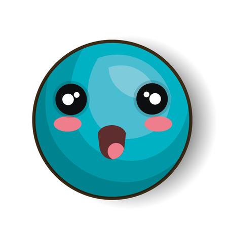 blue smiling: cartoon emoji blue smiling open mouth vector illustration eps 10