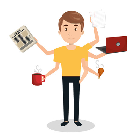 multitask: man with many arms multitask graphic vector illustration eps 10 Illustration