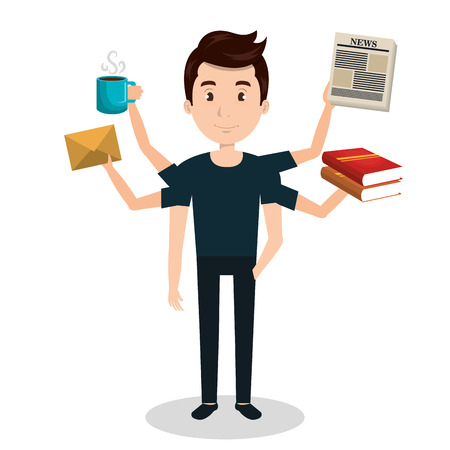 man with many arms multitask graphic vector illustration eps 10 Illustration