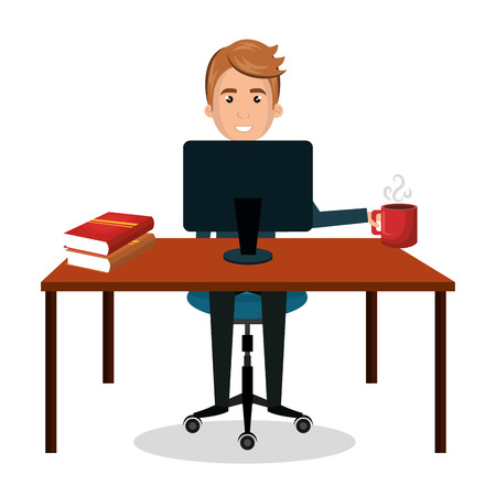 man cartoon working laptop with book and cup coffee design vector illustration eps 10