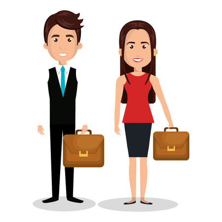 couple cartoon worker business people design Illustration