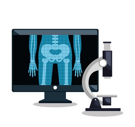 pc monitor: x- ray microscope and monitor pc design vector illustration