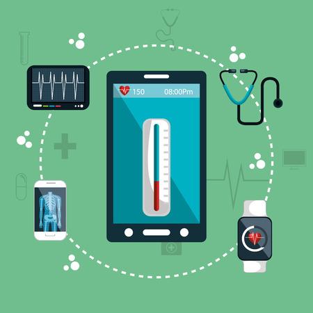 pc health: health app medical digital healthcare vector illustration