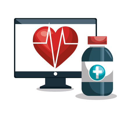 digital healthcare cardiology and medicine vector illustration
