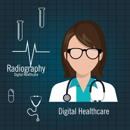 embolism: doctor digital healthcare radiography graphic vector illustration