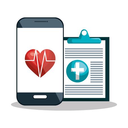 smartphone diagnosis cardiology digital healthcare design vector illustration