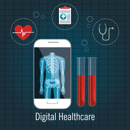 cardio: digital healthcare cardio app graphic design vector illustration Illustration
