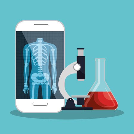 smartphone app microscope and test tube lab design vector illustration