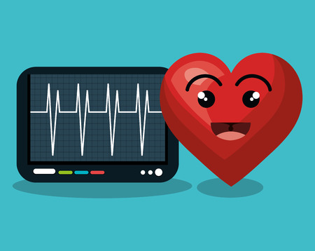 stress test: digital healthcare cardio heart rate vector illustration