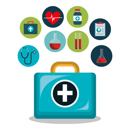 kit icons healthcare medicine design isolated vector illustration