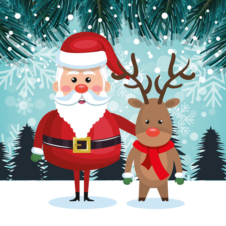 santa with reindeer and landscape snow graphic vector illustration